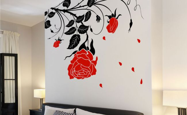 Large Flower Roses Vines Vinyl Wall Art Stickers Wall