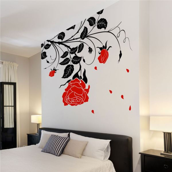 Large Flower Roses Vines Vinyl Wall Art Stickers