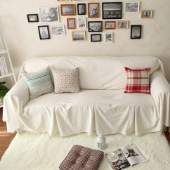 Loveseat Sofa Cover How To Get Rid Of Damp Smell From Leather Vintage Style White Cotton Love Seats Couch Throw ...