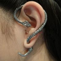 Newest Cheap GOTHIC Silver Snake Wrap Left Ear Cuff Stud