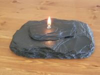 Slate Oil Lamp Candle - Flaming Fire Rock Stone - Real ...