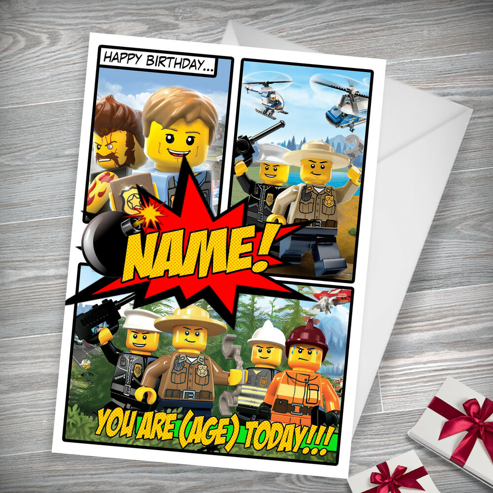 LEGO CITY Personalised Birthday Card Son Daughter