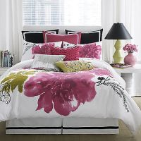 Watercolor Large Floral Pink Black Green White X-Long Twin ...
