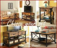 Rustic Living Room Set Coffee Table End Accent TV Stand ...