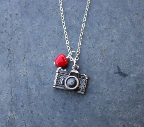 Camera Necklace - Antiqued Charm & Red Heart Sterling
