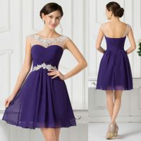 BEADED Sexy Short Chiffon Evening Gowns Party Formal ...
