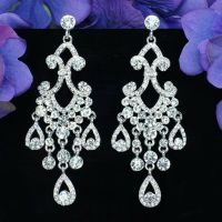 Rhodium Plated Clear Crystal Rhinestone Wedding Drop