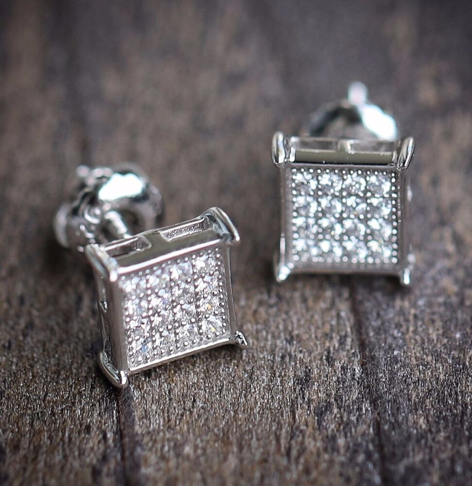 MENS MICRO PAVE STERLING SILVER SQUARE EARRINGS SCREW BACK