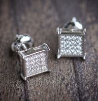 MENS MICRO PAVE STERLING SILVER SQUARE EARRINGS SCREW BACK ...