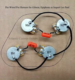 upgraded 50s style wiring harness fits les paul cts 500k long shaft pots ebay [ 960 x 862 Pixel ]