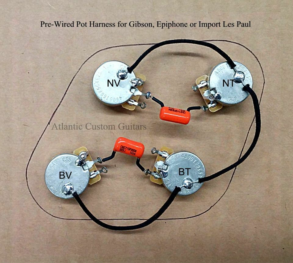 hight resolution of upgraded 50s style wiring harness fits les paul cts 500k long shaft pots ebay