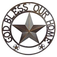 GOD BLESS OUR HOME Metal Barn Star Rustic Brown Texas Rope ...