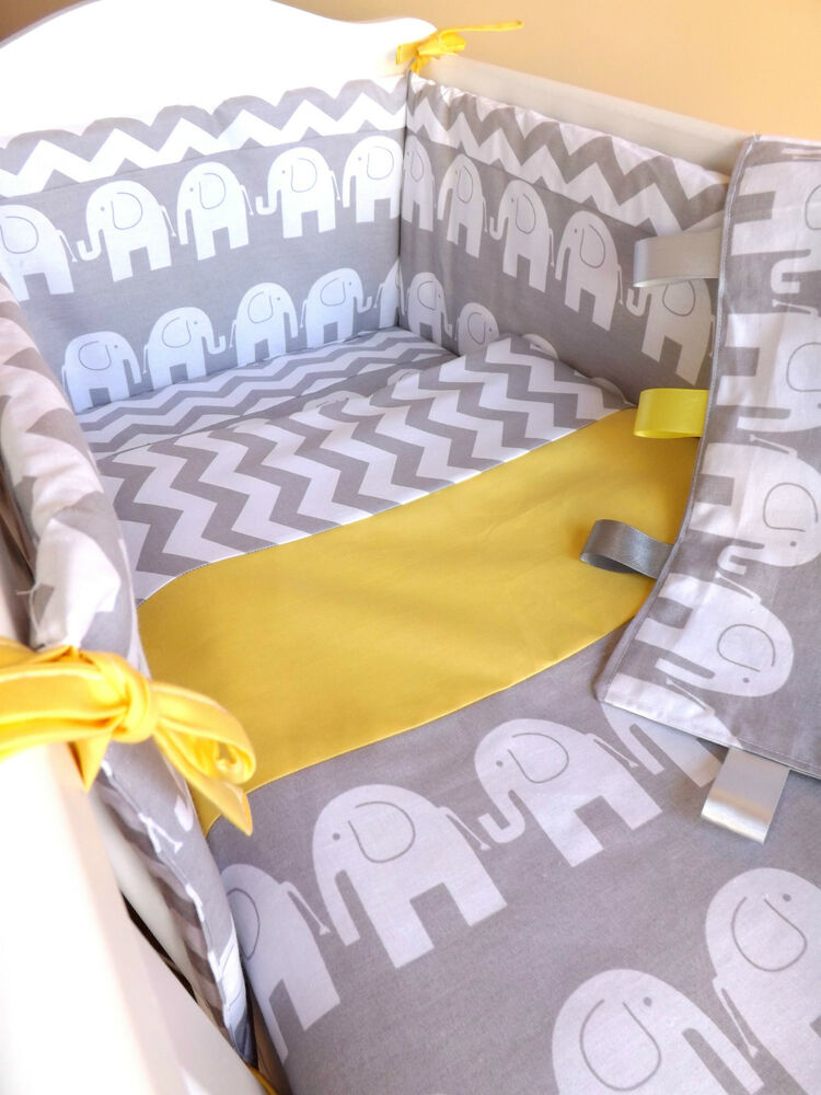 CRIB OR COT OR COT BEDDING SET , GREY ELEPHANT ZIG