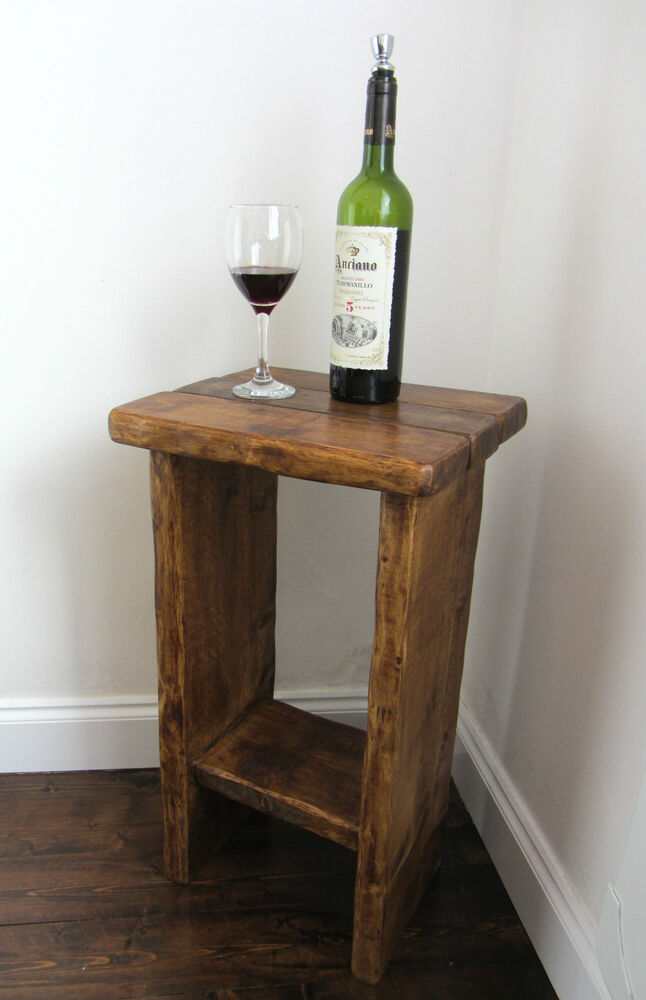 SOLID RUSTIC PLANK WOOD FARMHOUSE LAMP TABLE SIDE TABLE