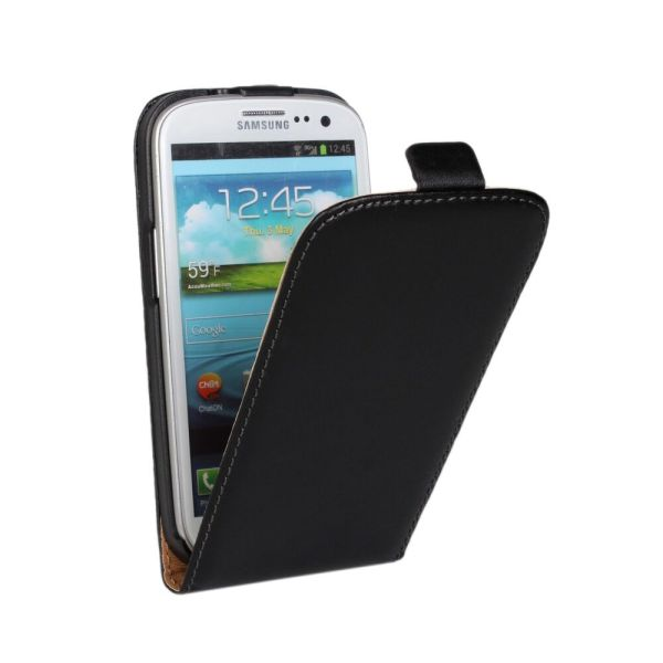 Black Leather Flip Mobile Phone Case Cover For Samsung