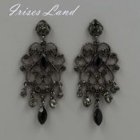 New Alloy Black Crystal Rhinestone Drop Chandelier Dangle