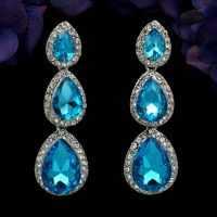 Rhodium Plated Blue Crystal Rhinestone Drop Chandelier