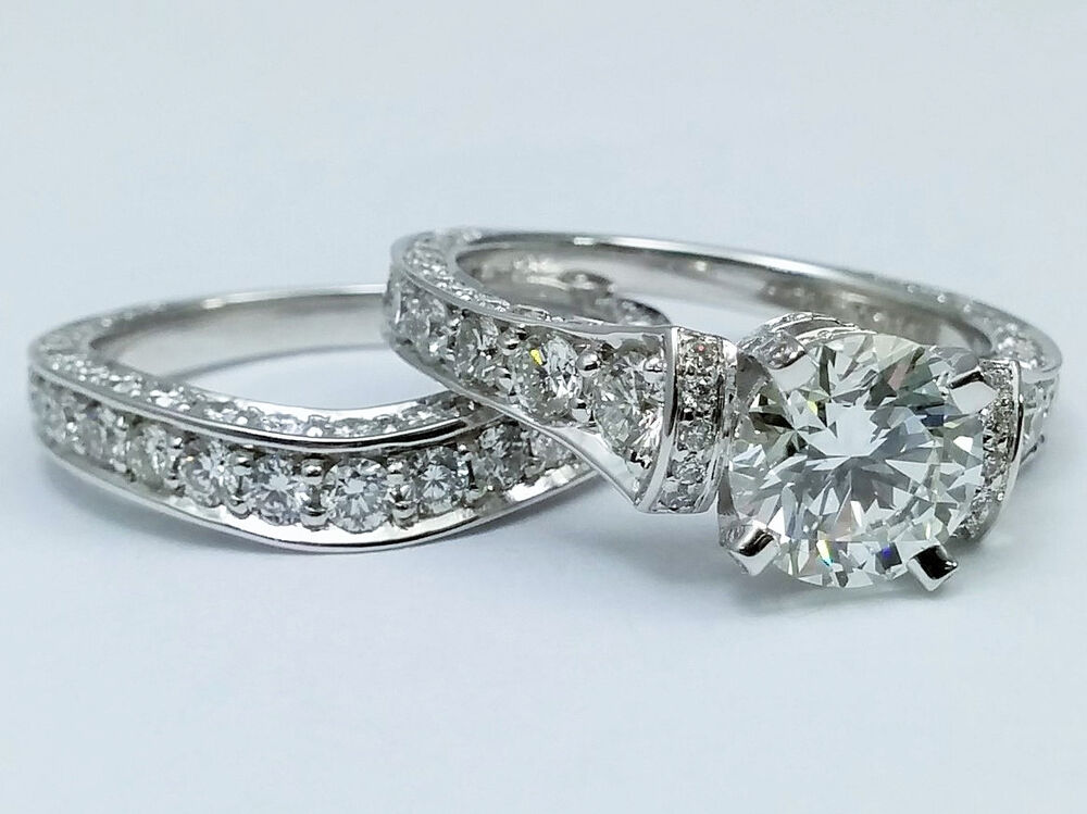 391 Carat Total Weight Large Cathedral Graduated Pave Diamond Engagement Ring  eBay