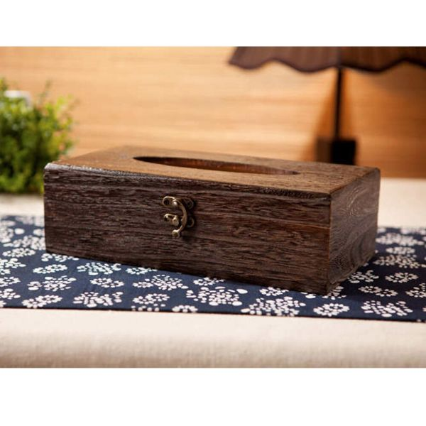 Rectangle Japanese Wood Tissue Box Holder Cover Home