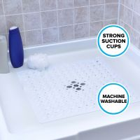 Large Non-Slip Shower Mat with Drain Holes: White Square ...