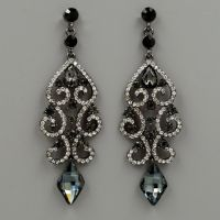 Alloy Black Clear Crystal Rhinestone Chandelier Drop