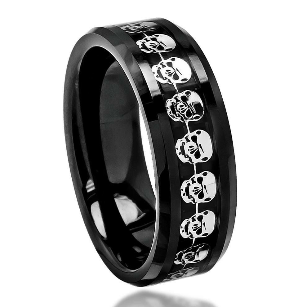 Black Carbon Fiber Skull Symbol Inlay Beveled Edge Ceramic