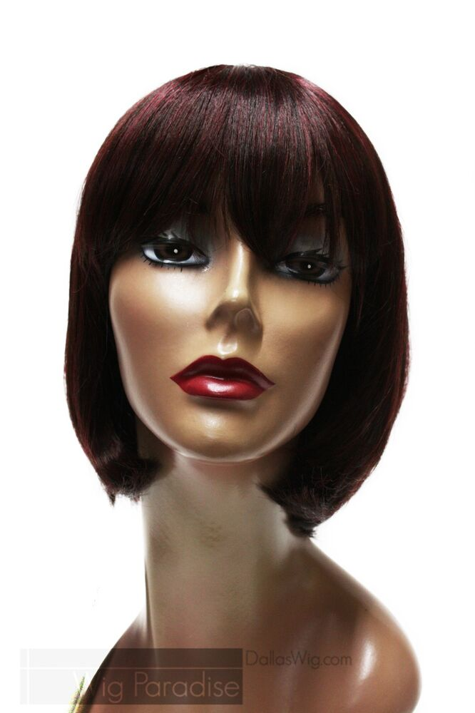 Synthetic Short Straight Bob Style With Bangs 99J Burgundy