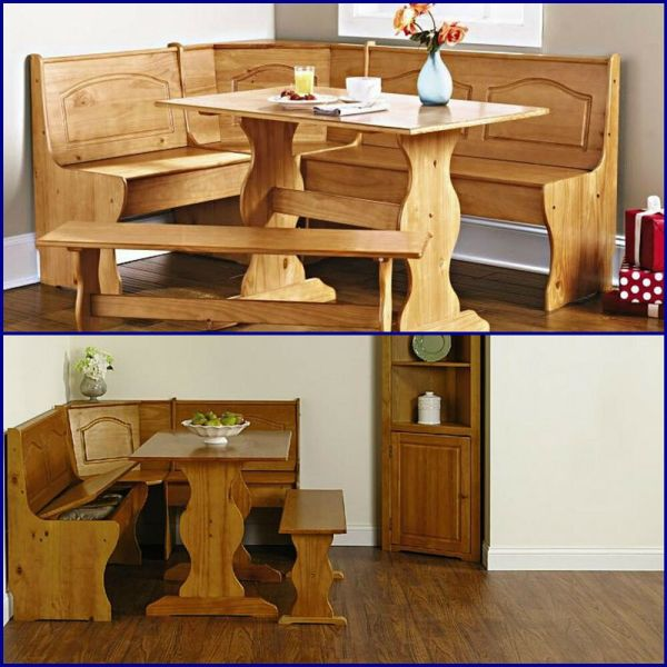 Rustic Country Breakfast Nook Dinning Set Cabin Lodge Bench Seat Table
