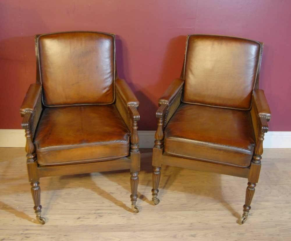 french bergere chair cover hire north devon pair regency chairs leather arm walnut   ebay