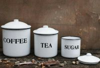 Vintage Style Enamel Canister Set French Country Farm ...