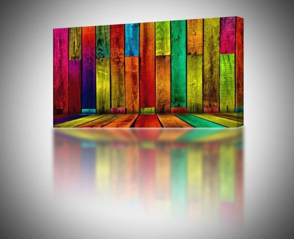 4 Sizes - Colorful Abstract Boards Canvas Print Home Wall
