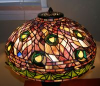 Tiffany Reproduction Peacock Feather Stained Glass Lamp