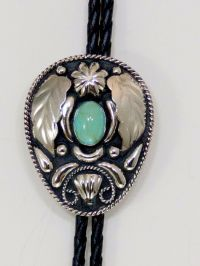 Mens Western Bolo Tie/Silver With Turquoise | eBay