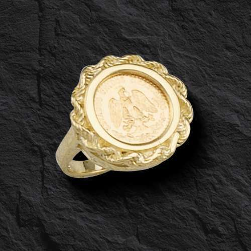 14K Yellow Gold 19 MM COIN RING With A MEXICAN DOS PESOS Coin EBay