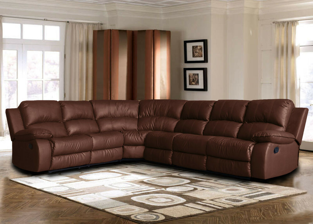 Large bonded leather sectional sofa with reclining end seats Brown  eBay