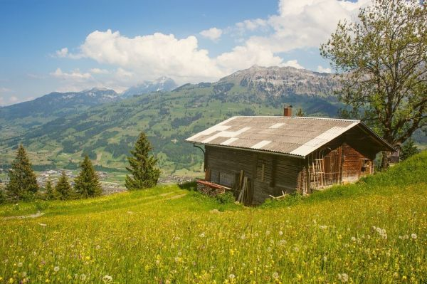 mountain cabin alps landscape poster