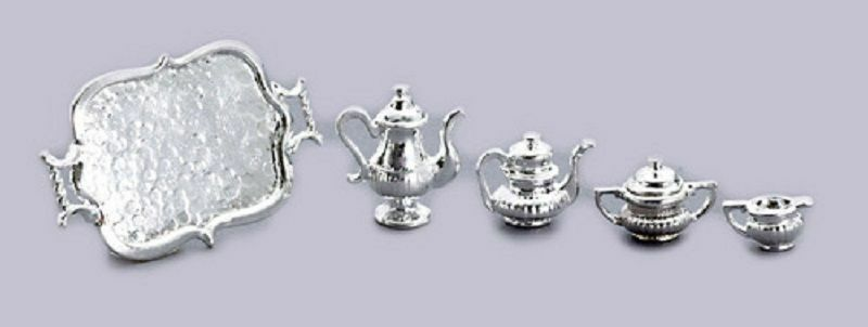 Dollhouse Miniature Metal Silver Coffee and Tea Service 5