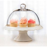 Cake Plate Dome Vintage Glass Lid Cover Pedestal W Saver ...