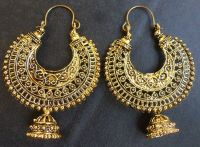 Vintage Antique Gold Plated Chand Bali Half Circle Indian