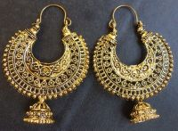 Vintage Antique Gold Plated Chand Bali Half Circle Indian ...