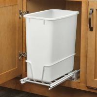 20-Quart White Trash Can Kitchen Waste Bin Garbage Pull ...