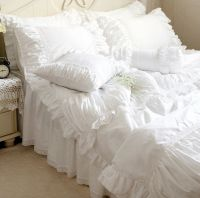 Luxury White Ruffle Lace Quilt Duvet Cover Bedding Set ...