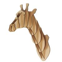L/ S Wooden Giraffe Trophy Animal Head 3D Wall Art Kids ...