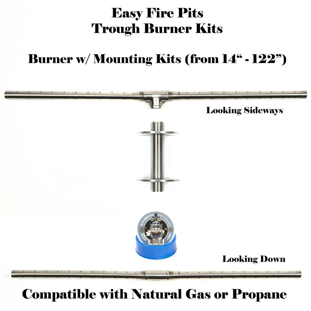 "TB14K: 14"" TROUGH BURNER & MOUNTING KIT (90 DEG FLAMES"