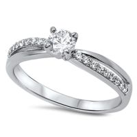 Women's Solitaire White CZ Promise Ring New .925 Sterling ...