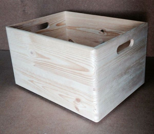 Pine Wood Open Box With Handles 40x30x23cm Dd166 Cd