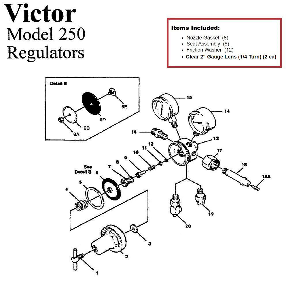 Victor 250-80-540 Oxygen Regulator Rebuild/Repair Parts