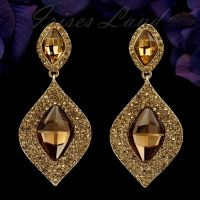 18K Gold Plated Topaz Crystal Rhinestone Chandelier Drop