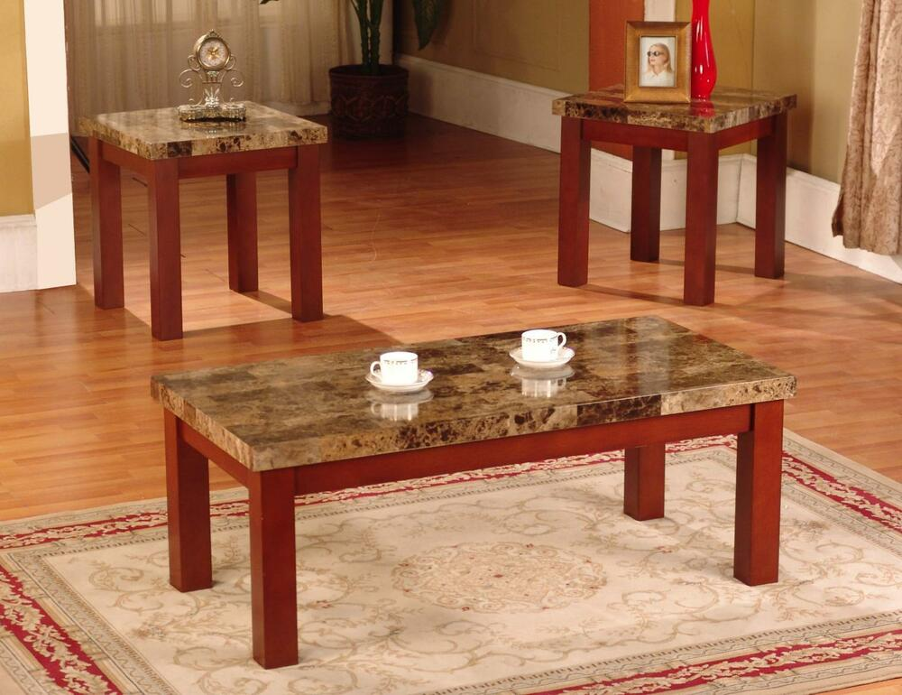 New Faux Marble 3 Piece Coffee and End Table Set Tables