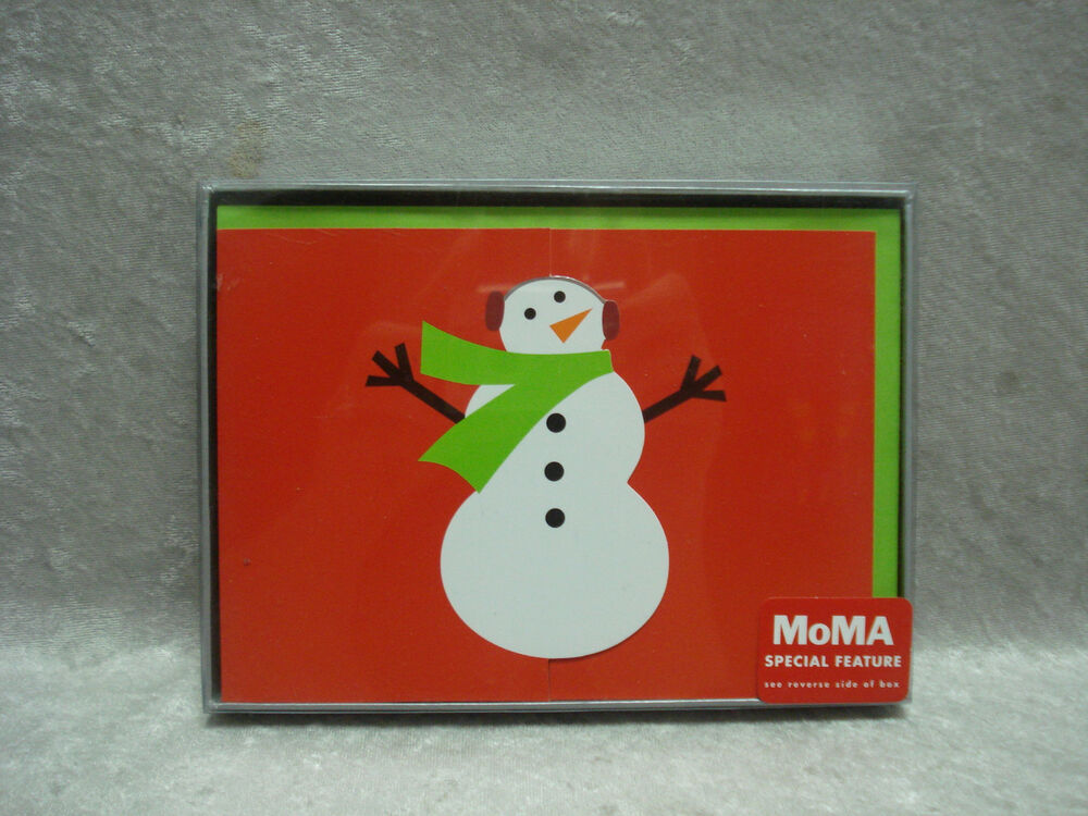 Box Of 8 MoMA Museum Of Modern Art Snowman Christmas Cards